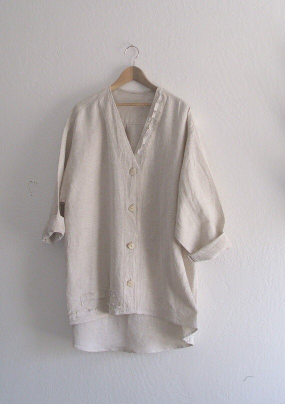 Plus Size Linen Tunic/ Rustic Ecru Linen Shirt Dress/ Eco
