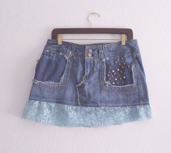 Embellished Denim Mini Skirt/ Eco Fashion UpCycled