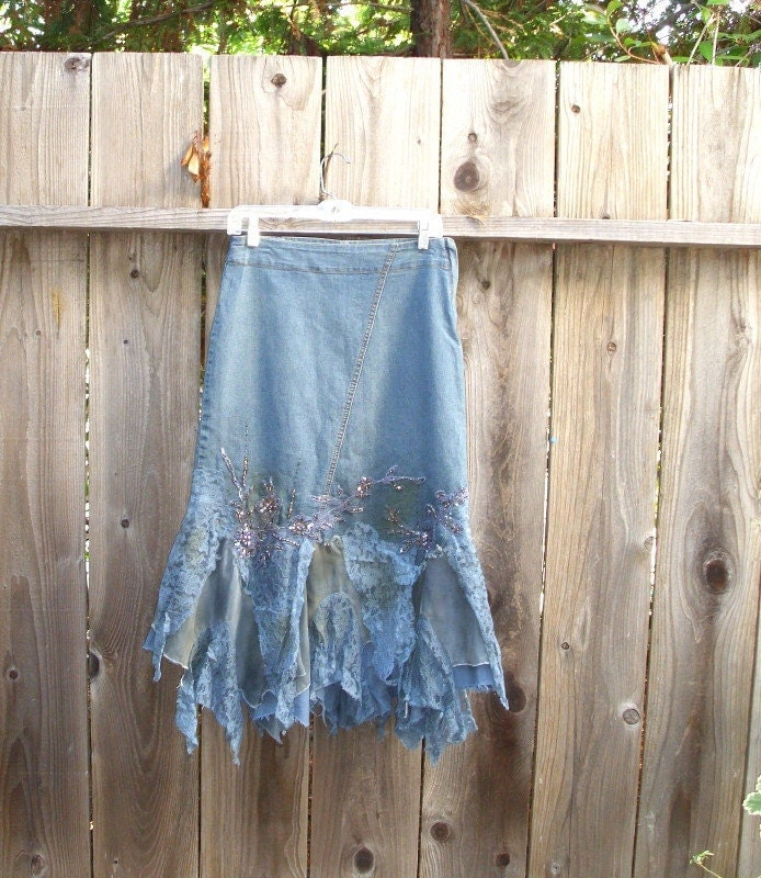 shabby chic funky tattered distressed denim lace skirt eco