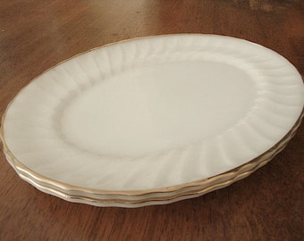 milk glass plates by fire king- Golden Shell pattern serving platter  (2 serving platters), milk glass with gold trim serving platter