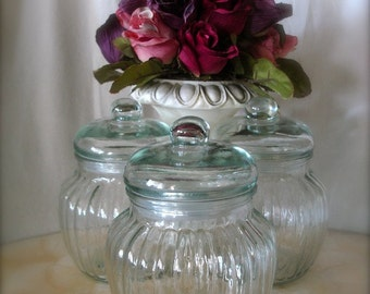 Set of glass jars , candy jar, craft jars , apothecary jars  ( 3 jars)