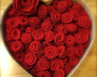 50 Handmade red felt roses , handmade red felt rosettes , valentines decoration, wedding decoration, wedding favors (50 roses)