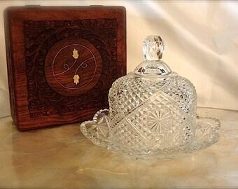 Vintage Fostoria crystal cloche, glass cloche, small glass cloche, butter dish, soap dish, trinket dish