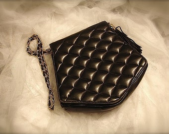 vintage black quilted bag with gold chain strap