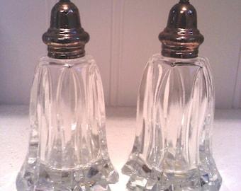 vintage crystal / silver plate salt and pepper shaker,  salt and pepper shakers