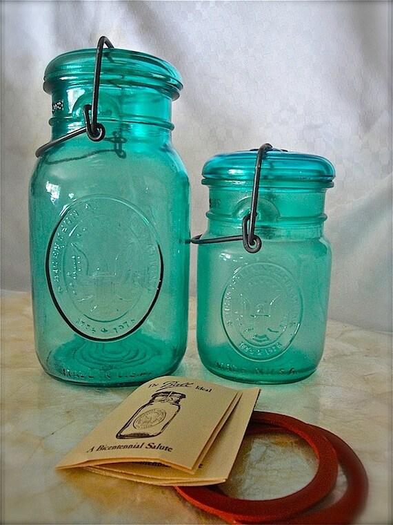 Vintage BALL IDEAL Bicentennial canning jar (1 set)