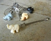 FREE US SHIPPING - Playful Elephant Wine Glass Charms - Last One - Ready to Ship - (Set of 4)