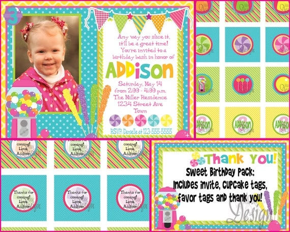 Colorful Candy Birthday Invite with FREE Cupcake Signs, Favor Tags & Thank You - Digital Files for girl