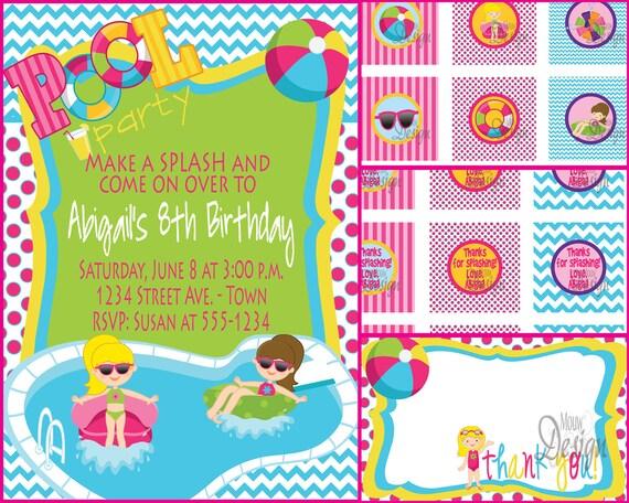 Pool Party Invitaci 243 N O Agua Fiesta Cumplea 241 Os Por Mouwdesigns