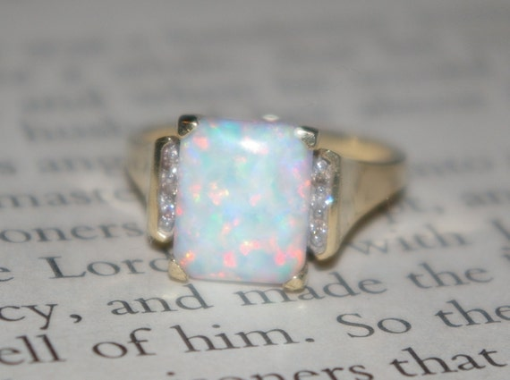 Estate Vintage Emerald Cut Snow Opal and Brilliant Diamond 10k Yellow Gold  Cocktail Ring