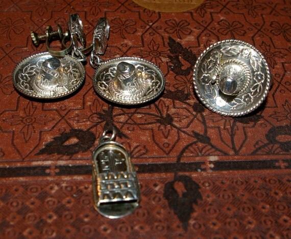 Mexican Sombrero Sandal Sterling 925  Demi Parure Jewelry Set Vintage