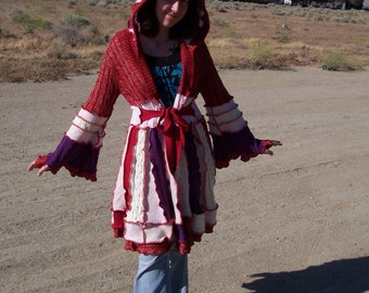 FOR SALE - Small Upcycled - Recycled - Gypsy Sweater Coat - By Gypsie