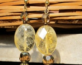 Citrine Earrings with Vintage Brass and Sparkling Crystals