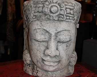 OM, Dramatic Buddha, Kwan Yin, Guang Yin, Concrete Carved Garden or Indoor Altar Bust...