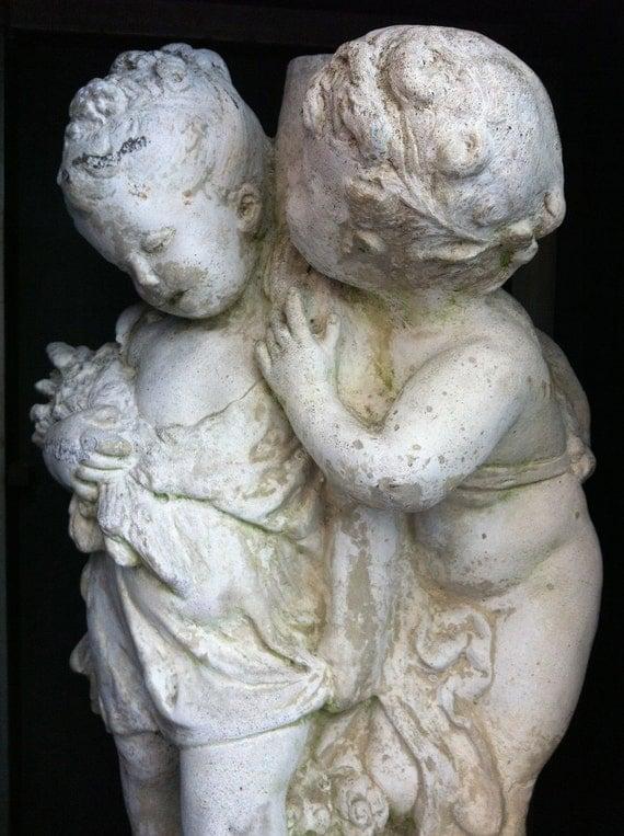 Charming, Cherishable and Chic Pair of Cherubic French Victorian Children Garden Statuary