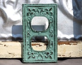 outlet cover/ cast iron fleur de lis/ jade shabby chic outlet / light switch cover/ switch plate cover/ lighting/ cottage style lighting