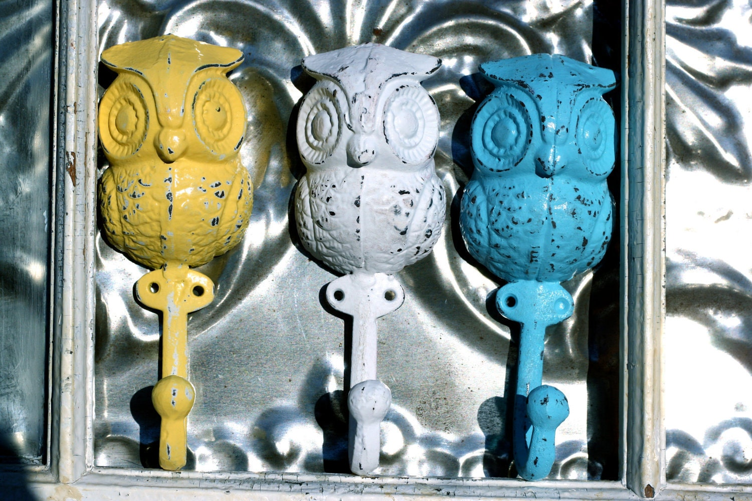 Owl Trio wall hooks/ Wall decor owl bath by MichelleLisaTreasure