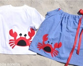 Matching Kids Outfits. Red Crab.