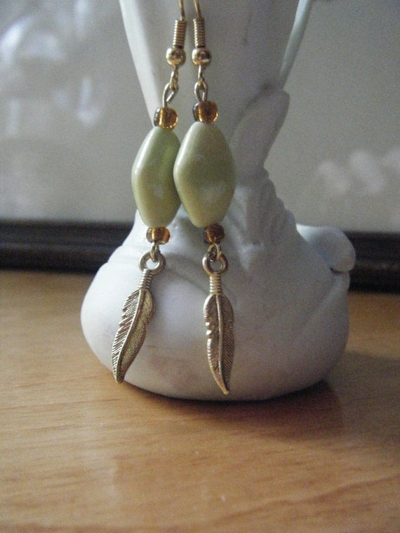 OOAK Dangle Beaded Earrings hand made