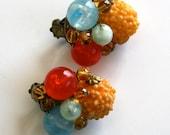 1950 Marble Earrings Jewel 1960 Mod / Rainbow Red Yellow Red - Tutti Frutti