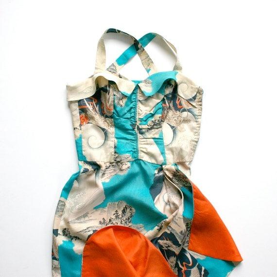 RESERVED: 1940 Hawaiian Halter Dress Sarong Silk Chinese / Cream Aquamarine Tangerine / Extra Small - Ilimi