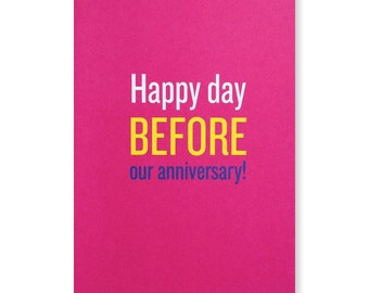 Happy Day Before Our Anniversary Greeting Card