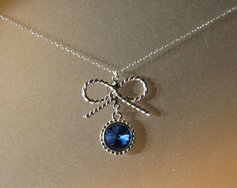 Blue Sapphire and Ribbons Necklace