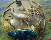 Heron in the Wetlands - pendant/ brooch malachite-azurite, color change sapphire, 18k gold, sterling & fine silver