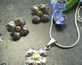 SALE - four petal flower earrings and pendant - sterling silver, 18k gold