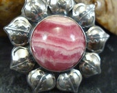 sterling silver and rhodochrosite flower brooch or pendant