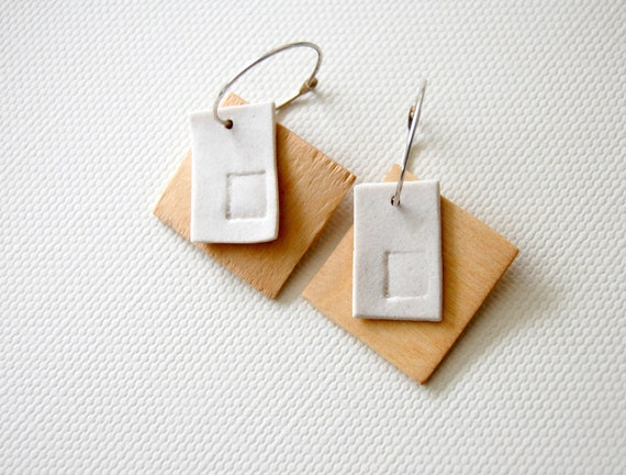 all the right angles Porcelain and Wood Earrings
