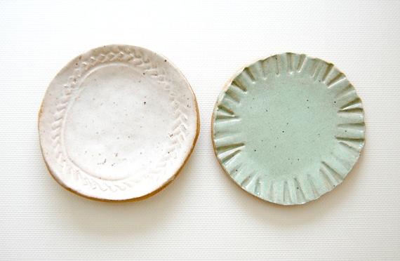 little bits Stoneware Mini Plates sea glass
