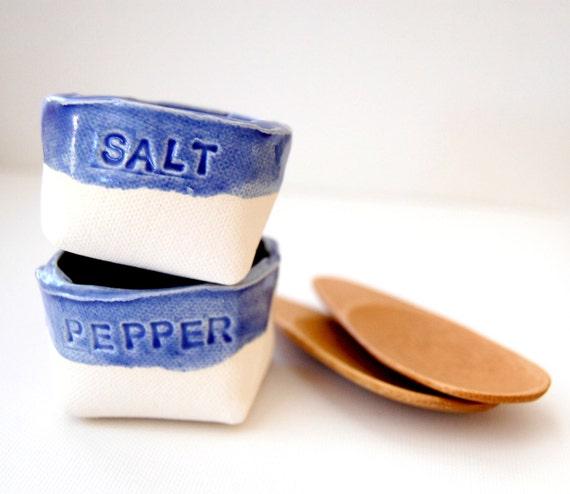 take out Ceramic Salt and Pepper Cellars ocean