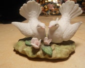 vintage bisque china cake topper with love doves and roses