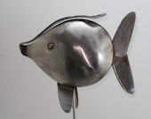 Decorative Handmade Stainless Steel Fish Plant Stake Sculpture