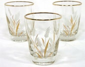 Juice Glasses with Wheat Design and Gold Rim (Set of 3)