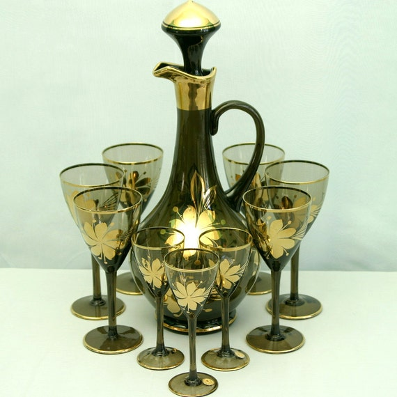 romanian glass decanter set decanter with 6 wine and 3. Black Bedroom Furniture Sets. Home Design Ideas
