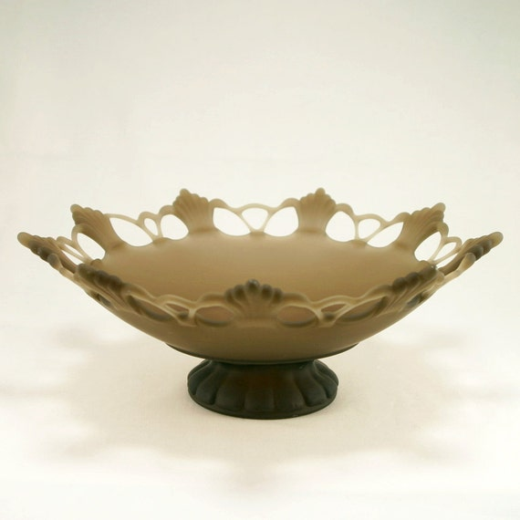 Westmoreland Ring & Petal Bowl, Smokey Brown, Art Deco / Art Nouveau Style, Console Centerpiece Bowl, Westmoreland Glass