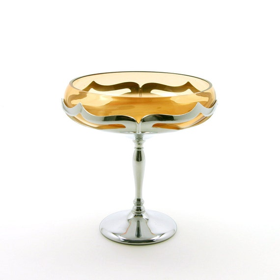Farber Bros. Amber Compote, Art Deco Amber Glass Bowl on Chrome Stand, Farber Brothers, ca. 1940s