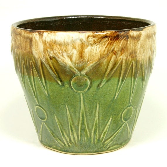 """RESERVED Ransbottom Sun and Moon Jardiniere, Deco Style Planter, 7"""" High, Robinson Ransbottom Pottery Co. (RRPCO), ca. 1930s"""