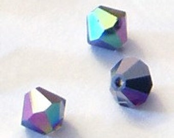 24pc - 3mm Swarovski Crystal Heliotrope BiCone Spacer Beads Style 5301 aka 5328