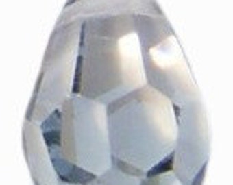 20mm Preciosa Crystal Lagoon Blue-Silver Crystal Teardrop Pendant Charm Drop