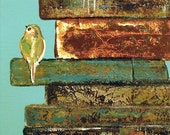 Cute Bird on Vintage Books 11x14 or 8x10, Mom and teachers love this art print