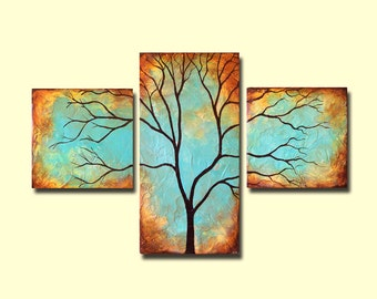 Tree Wall Art - Patina Triptych Art - Custom Large Painting