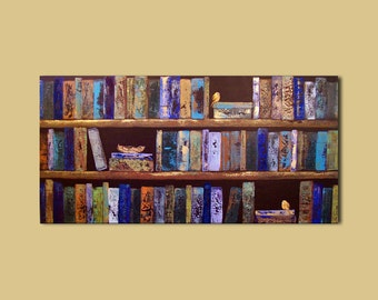 Abstract Painting Library Books Birds and Nest Painting 24 x 48 Custom Art