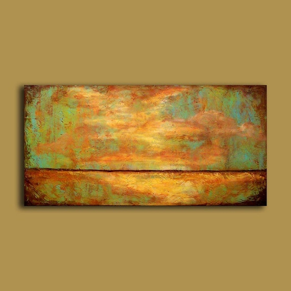 Abstract Art, Landscape Original Painting, Warm earthy and minimal art