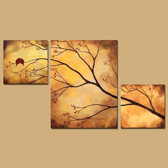 Abstract Triptych Painting, Birds in Tree Branch Painting, 42 x 24, Large Art
