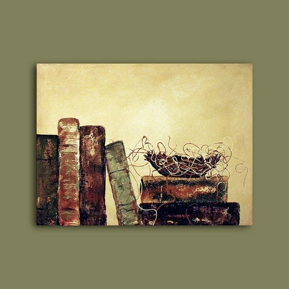 Bird Nest in library books Abstract Vintage Vibe Custom Painting