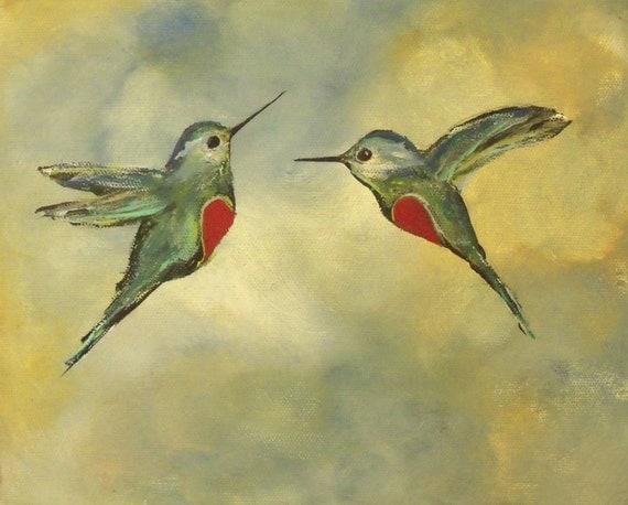 Romantic Hummingbirds Print, Heart for Couples, 8x10 Wall Art Print