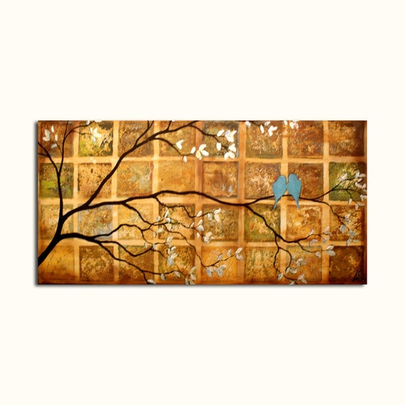 Love Birds Original Painting...18 x 36...Tree Branches Rustic Wall Art - On Sale